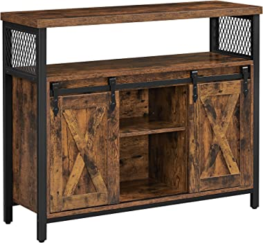 VASAGLE COBADO Dining Sideboard, Kitchen Cupboard, Storage Cabinet, Buffet Table with Adjustable Shelf, Open Compartment, Ind
