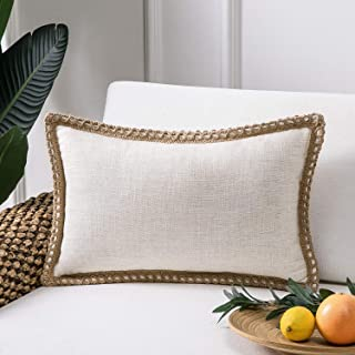 Phantoscope Farmhouse Decorative Throw Pillow Covers Burlap Linen Trimmed Tailored Edges Outdoor Pillows Off White 12 x 20 inches, 30 x 50 cm
