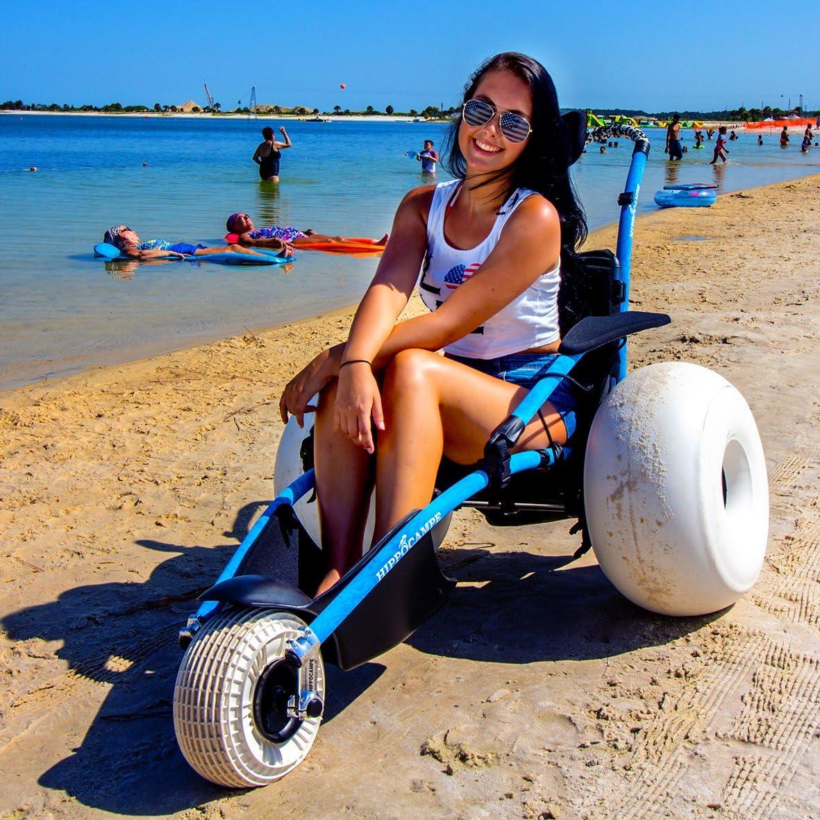 HIPPOCAMPE All Terrain Recommended Beach Wheelchair -Balloon Tir security Medium Size