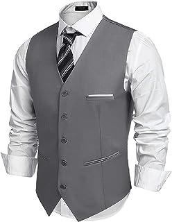 Men's V-Neck Suit Vests Fashion Formal Slim Fit Business Dress Vest Waistcoat