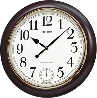 Rhythm SIP(Sound in Place) Wall Clock Sub-Second Hand,Volume Control,Monitor/Demonstration,Autonight Shut Off (55.0x55.0x7.5cm)