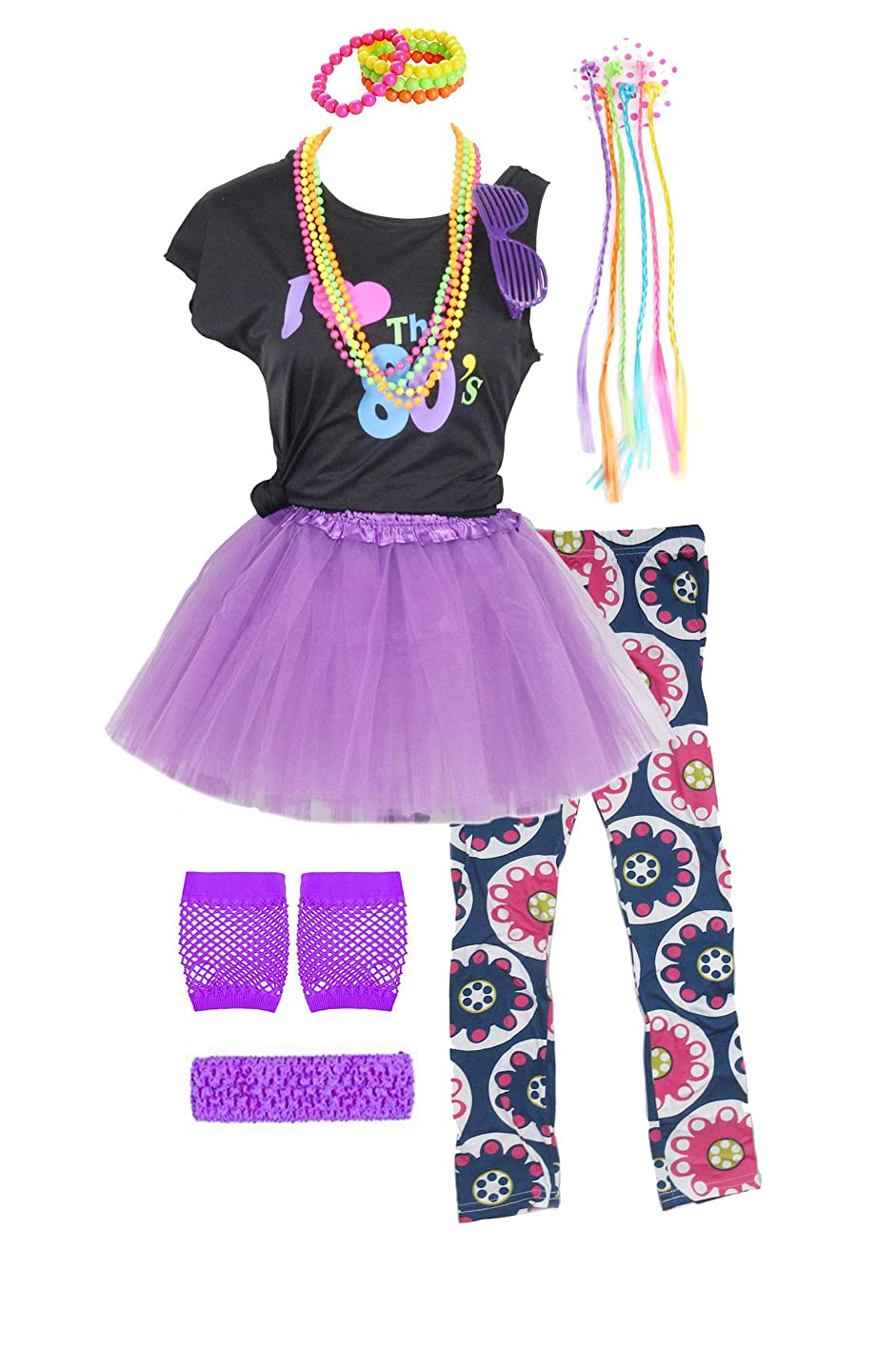Fashion by Janestone Girls 80s T-Shirt Costume Outfit Accessories Headwear Skirt Leggings Gloves iacacbtlfdt399