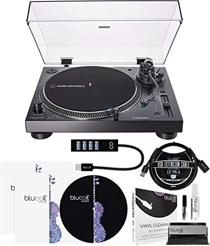 """wholesale Audio Technica AT-LP120XUSB USB Direct-Drive Turntable (Black) Bundle with new arrival Blucoil 2x LP Inner Sleeves, 12"""" Turntable Slipmat, 2-in-1 Vinyl Cleaning Kit, 3' USB Extension Cable, and USB-A Mini discount Hub online"""