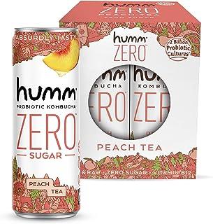 Humm Kombucha Zero Sugar Peach Tea - Live and Raw Kombucha - No Refrigeration Needed - Vegan, Gluten-Free - Peach Tea 11oz...