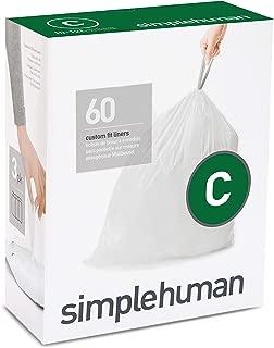 simplehuman Code C Custom Fit Drawstring Trash Bags, 10-12 Liter / 2.6-3.2 Gallon, 3 Refill Packs (60 Count)