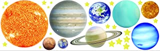 Bluky Glow in The Dark Luminous Sticker Wallpaper Decorations, Solar System with Stars and Planets for Kids' Bedroom Living Room