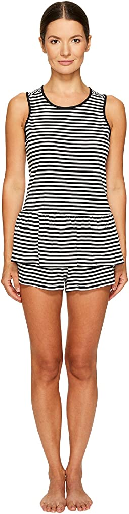 Kate Spade New York - Black and White Stripe Peplum Short Pajama Set