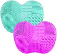 2-Pack Brush Cleaning Mats, Easkep Makeup Cleaner Pad Portable Washing Tool Scrubber with Suction Cup Set of 2 Cosmetic Silicone (Green+Purple)