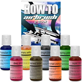 Chefmaster Cake Decorating Food Coloring Airbrush Paint Set - 8 Colors .64oz