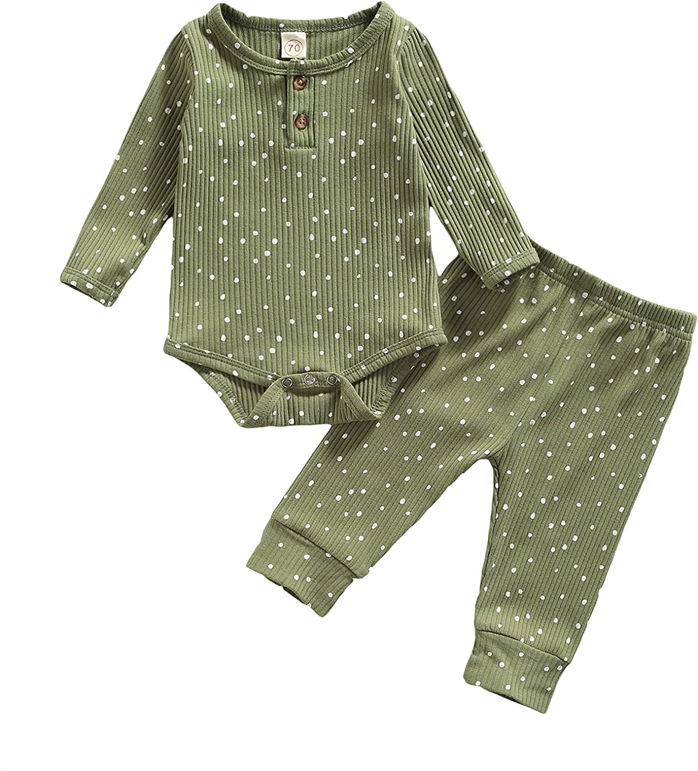 Newborn Infant Baby Boy Girl Ribbed Outfit Long Sleeve Polka Dot Romper Top Pants 2Pcs Fall Winter Clothes