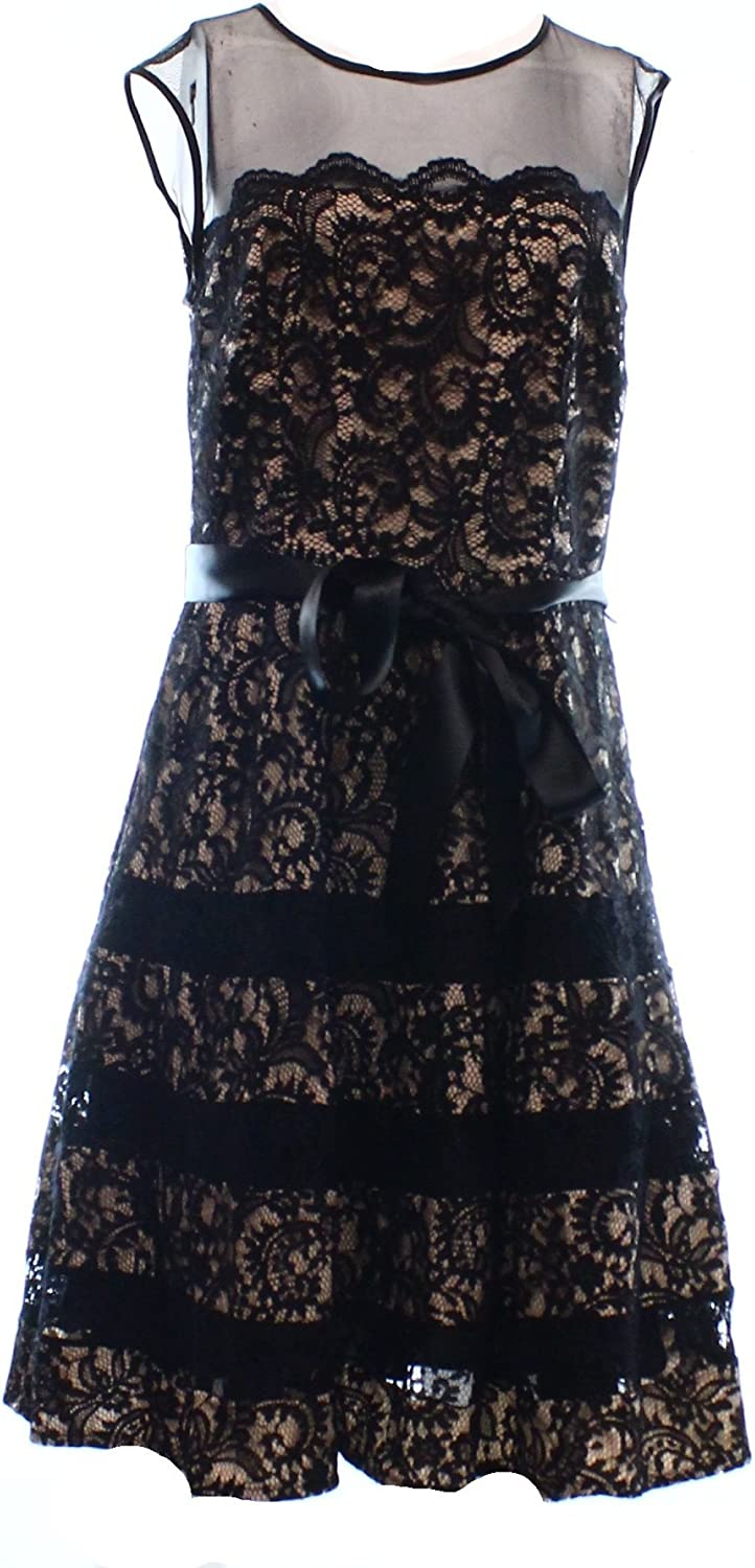 Betsy & Adam Women's Lace Fit-and-Flare Party Dress with Belt