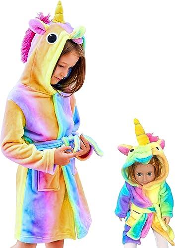 Unicorn Hooded Bathrobe Sleepwear Matching Doll & Girls Gifts
