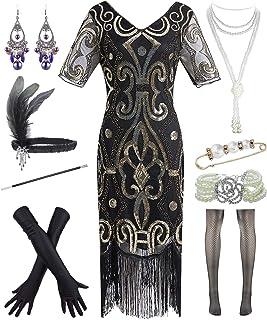 Dancing Stone 1920s Womens Wedding Dazzle Flapper Costume Gatsby Plus Dress w/ 20s Accessories Set