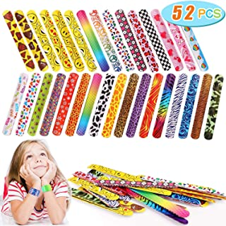 Slap Bracelets Party Favors with Colorful Hearts Emoji Animal Print Design Retro Slap Bands for Kids Adults Birthday Classroom Gifts (52PCS)