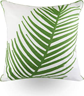 Hodeco Embroidery Throw Pillow Covers 18x18 Inches Decorative Floor Pillows Cover for Couch 100% Cotton Cushion Cover Embroidered Green Palm Leaf Throw Pillow Case 45 x 45cm, 1 Piece