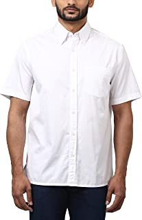 Colorplus Solid Cotton White Regular Collar Shirt for Men