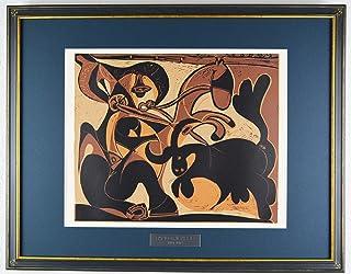 パブロ ピカソ 『雄牛を突く闘牛士【酒神の宴、女、雄牛と闘牛士より】』 絵画 本 版画 リノカット 1962年制作 作家生前作品 新品の額付き 壁面への取付け用フック付き