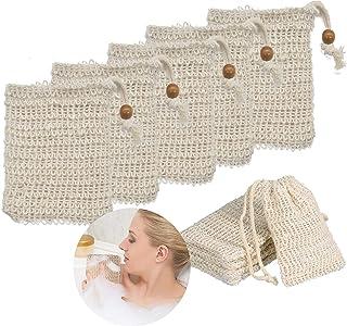 10 Piezas Bolsa de Jabón de Sisal Natural Red de Jabón con Cuerda Saco de Jabón para Espumar Exfoliación Masaje Cuidado de la Piel y Secar Jabones