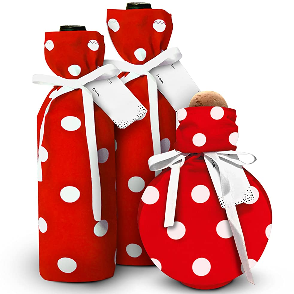 Wine Bags/BYOB and Hostess Gifts - New- Stretchy Fabric and Eco Friendly- Red & White Polka Dot (Set of 3 with Gift Tags and Satin Bows) One Size Fits Most Bottles, Perfume, Infused Oils, Candles