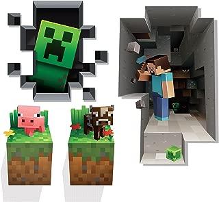 JINX Minecraft Wall Cling Decal Set (Creeper, Steve, Pig, Cow)