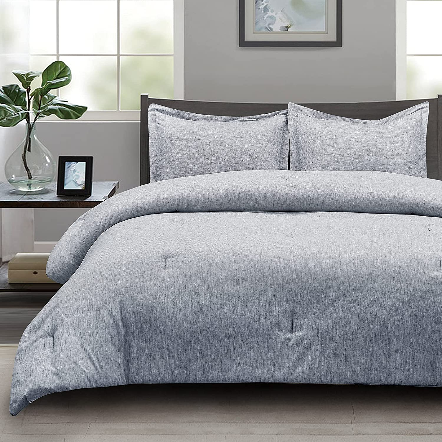 CozyLux Queen Comforter Free shipping anywhere in the nation Set Navy 3-Piece Cationic Blue Award-winning store Dyeing So