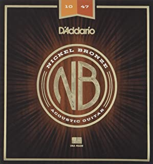 D'Addario Nickel Bronze Acoustic Guitar Strings, Extra Light, 10-47
