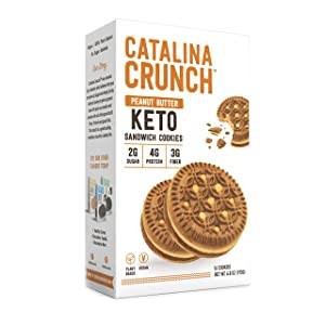 Catalina Crunch Peanut Butter Keto Sandwich Cookies 6.8 oz Box   Keto Snacks   Low Carb, Low Sugar   Vegan Cookies, Plant Based Protein Cookies   Keto Friendly Foods, Keto Dessert