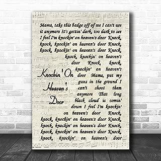 Knockin' On Heaven's Door Script Quote Song Lyric Art Music Quote Gift Poster Print