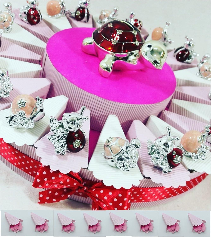 Torta 20 angioletti Bianchi con portafoto e Torta Rosa 20 bomboniere+salvadanaio Torta bomboniere Battesimo Maschio animaletti argentati Misti con Centrale salvadanaio kkk