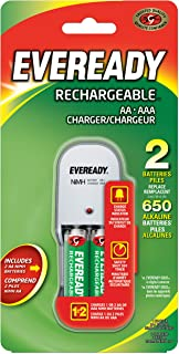 Eveready EV2PCWB-2 Charger with 2 AA Ni-MH 2000 mAh Rechargeable Batteries