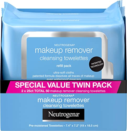 Neutrogena Makeup Remover Cleansing Face Wipes, Daily Cleansing Facial Towelettes to Remove Waterproof Makeup and Mas...