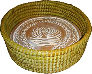 The Crabby Nook Warming Bread Basket with Lotus Warmer Tile Stone Hand Woven For Rolls Appetizers (12 Inch Natural)
