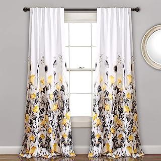 Lush Decor, Yellow and Gray Zuri Flora Curtains Room Darkening Window Panel Set for..