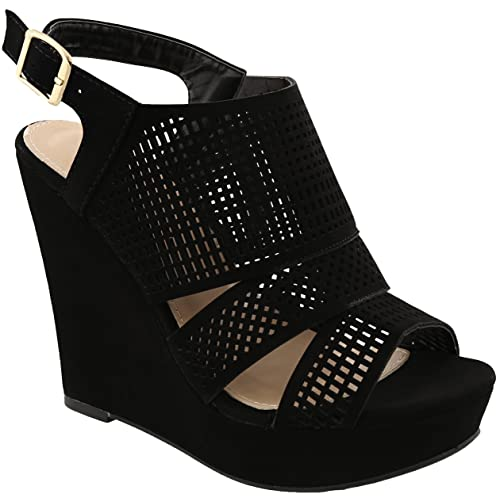 7859ebb8cd1 MVE Shoes Women s High Wedge Side Strap Open Toe Criss Cross Strap Thick  Platform