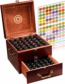 Beautiful 2 Tier Essential Oil Storage Box Organizer with 2 Carry Handles Holds 85 5-30ml & 10ml Roller Bottles (Space for 2oz 4oz Bottles) Free Bottle Opener & 192 EO Labels - Wooden Oil Case Holder
