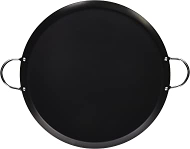 """IMUSA USA 14"""" Nonstick Carbon Steel Small Round Comal with Metal Handles, 13.5-Inch"""
