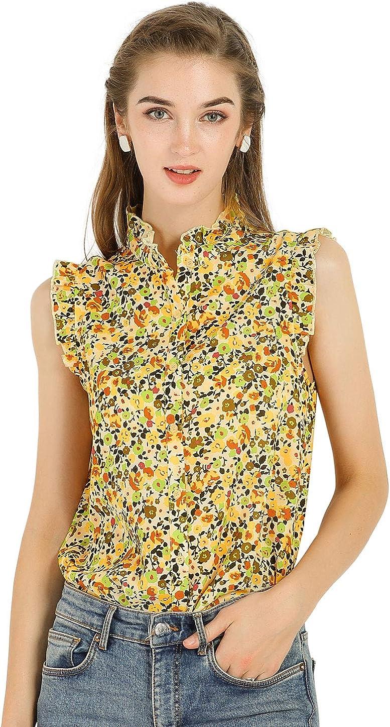 Allegra K Women's Sleeveless Ruffle Neckline Button Down Floral Top