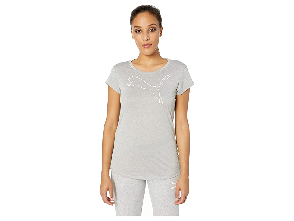 PUMA Active Logo Heather Tee (Light Gray Heather) Women