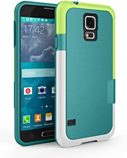 Samsung Galaxy S5 Case, Zectoo Ultra Slim 3 Color Hybrid Impact Anti-Slip Shockproof Soft TPU Hard PC Bumper Extra Front Raised Lip Case Cover for Samsung Galaxy S5 I9600 GS5 G900V - Green