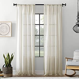Archaeo Textured Cotton Blend Sheer Curtain, 54