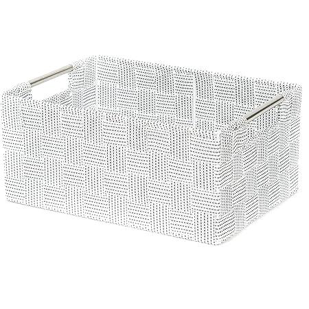 Compactor Panier Toronto Blanc taille L avec poignées, 30 x 20 x 12 CM, RAN8558