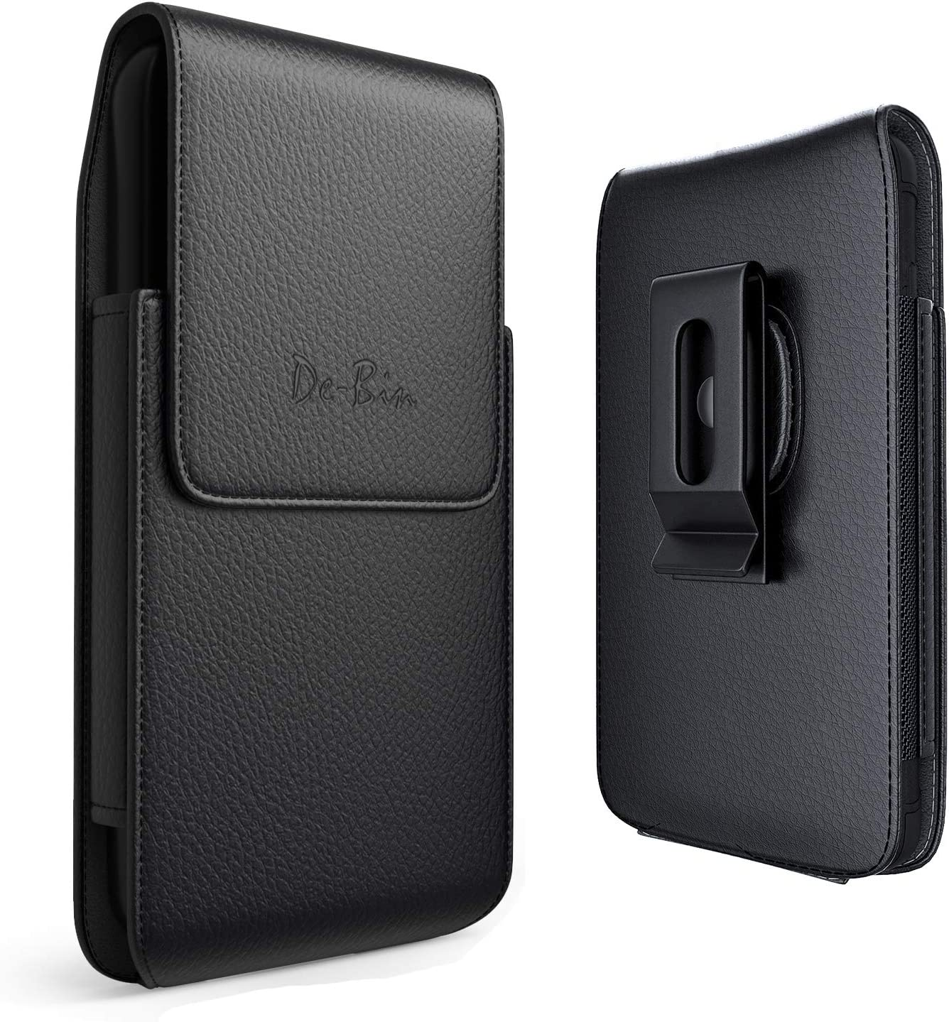 De-Bin Cell Phone Holster Designed for Samsung Galaxy S6 S7 Vertical Belt Case with Belt Clip Loops Phone Pouch Belt Holder Cover Fits Galaxy S6/ S6 Edge/ S7/ S10e with Slim to Medium Case on - Black