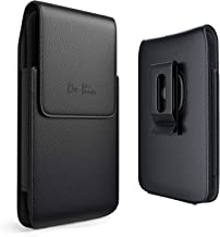 DeBin iPhone 11 iPhone XR Holster, Premium Leather Belt Holster Case with Belt Clip (Swivel Clip) Cell Phone Holder Pouch for Apple iPhone 11 and 10r (Fits Cellphone with Other Case Cover on) Black