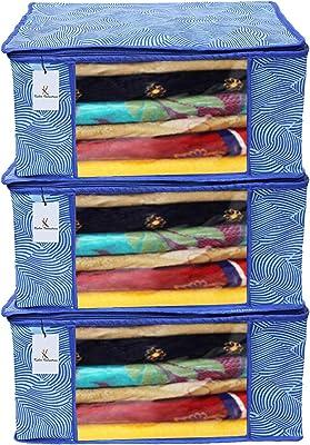 Kuber Industries Leheriya Design 3 Piece Non Woven Saree Cover, Large, Royal Blue - CTKTC15199