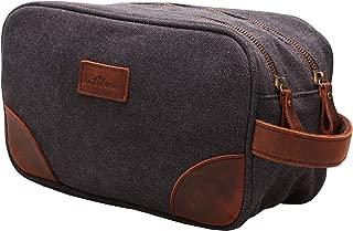 MSG Vintage Leather Canvas Travel Toiletry Bag Shaving Dopp Kit #A001 Grey Double Zipper