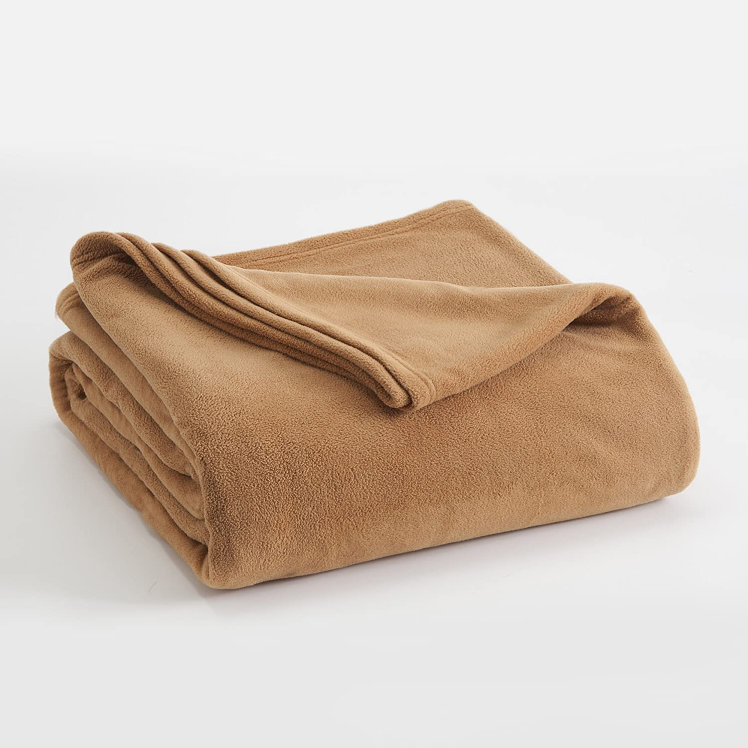 FLEECE BLANKET BY VELLUX - King, Microfiber, Polar fleece, Lightweight, Warm, Soft - Brown