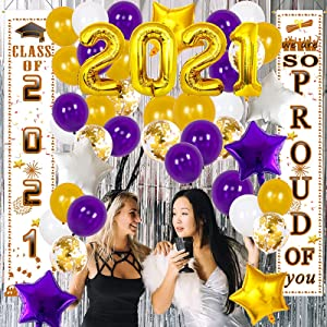 Graduation Decorations 2021 Purple Gold 2021 Graduation Balloons Kit Purple Yellow Class of 2021 Congrats Grad Door Porch Sign 2021 Graduation Party Supplies