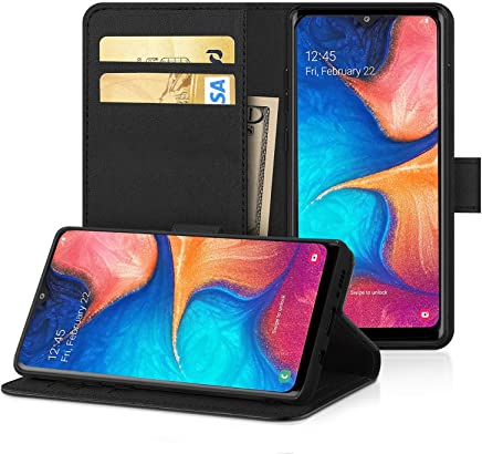 DN-Technology Samsung Galaxy A30 Case, Premium Leather Wallet Case Flip Folio Cover [Kickstand] [Magnetic Buckle] [ID Holder] Bookcase for Galaxy A30, Black