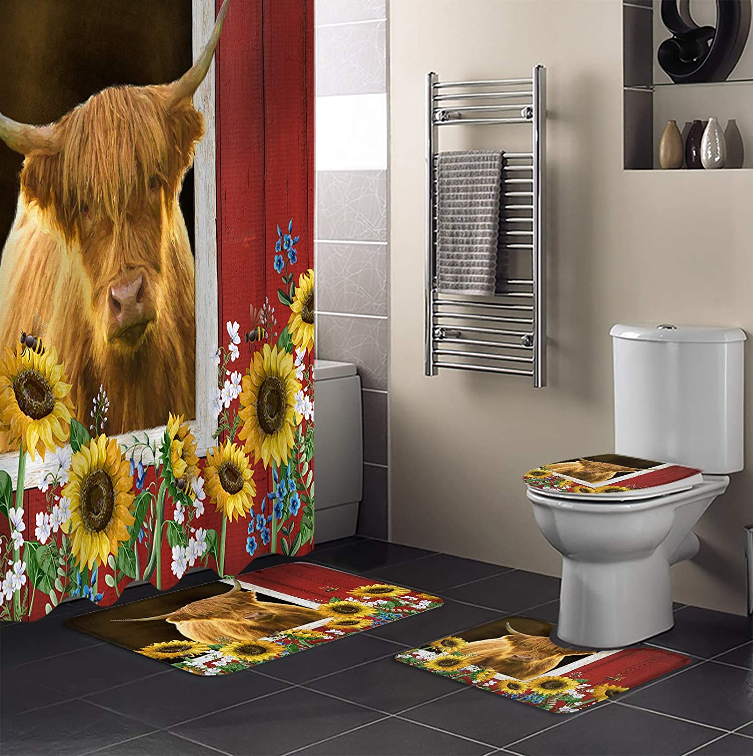 4 Piece Shower Curtain Sets Sunflower Highland Bees Fa Cattle in Max Same day shipping 42% OFF
