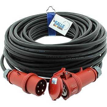 CEE Starkstromkabel 400V 16A 5x1,5mm/² H07RN-F mit MENNEKES Phasenwender Stecker und Kupplung 30m